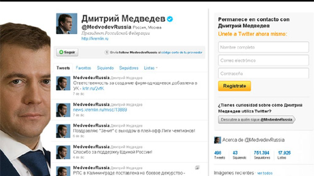 Dimitri Medvedev, Rusia, Twitter
