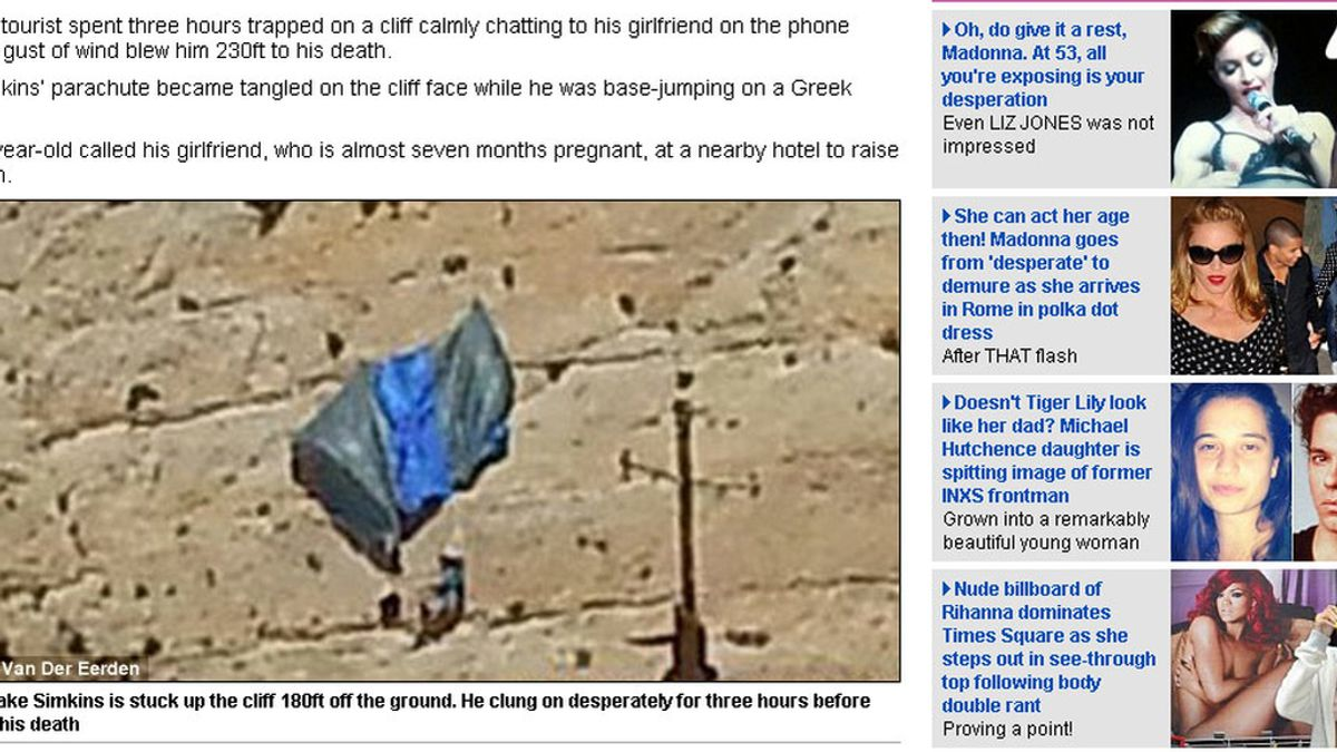 Muere tras quedar atrapado en un acantilado con su paracaídas