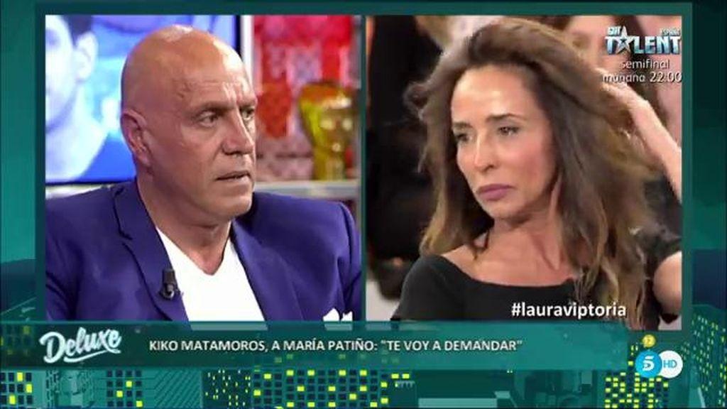 """Tensión entre Kiko Matamoros y María Patiño: """"¡Te voy a demandar por difamación!"""""""