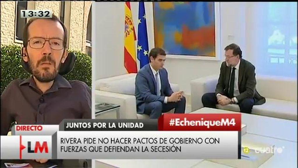 """Echenique, de la reunión de Mariano Rajoy y Albert Rivera: """"Puedo intuir que van a hablar de más cosas que de Cataluña"""""""