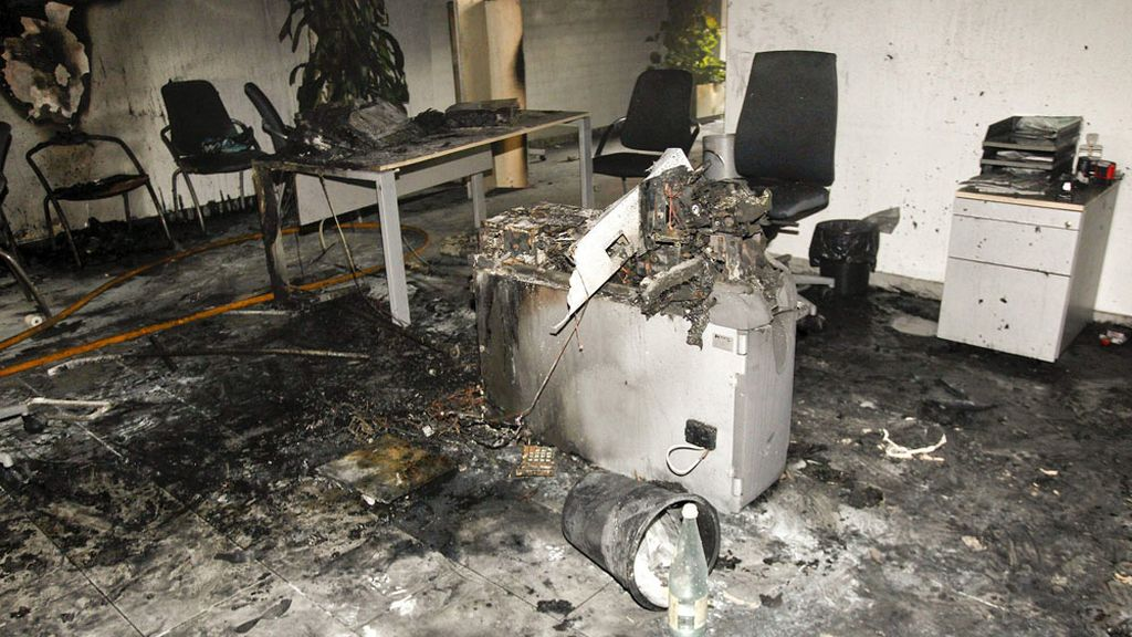 Estado de la sucursal de Castellón donde una mujer se quemó a lo bonzo
