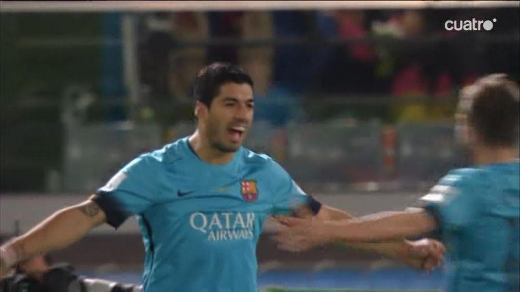 ¡Luis Suárez abre la lata del Guangzhou tras un cañonazo de Rakitic! ¡Uruuuguayooo!