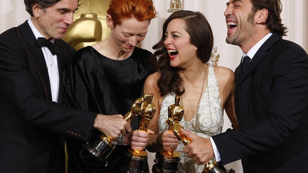 Daniel Day-Lewis, Tilda Swinton, Marion Cotillard, y Javier Bardem en 2007