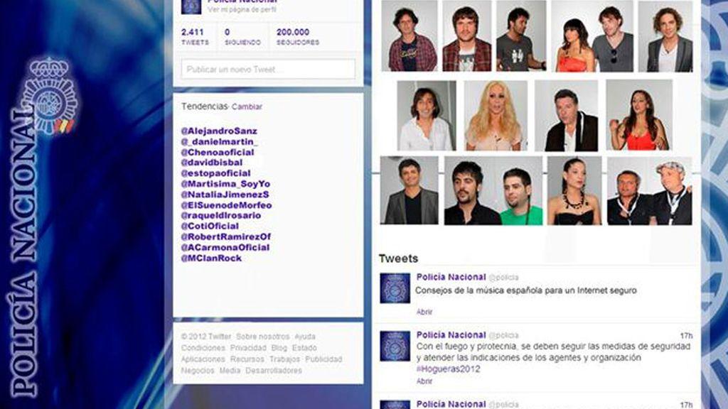 Los famosos se unen a la policía por redes sociales más seguras