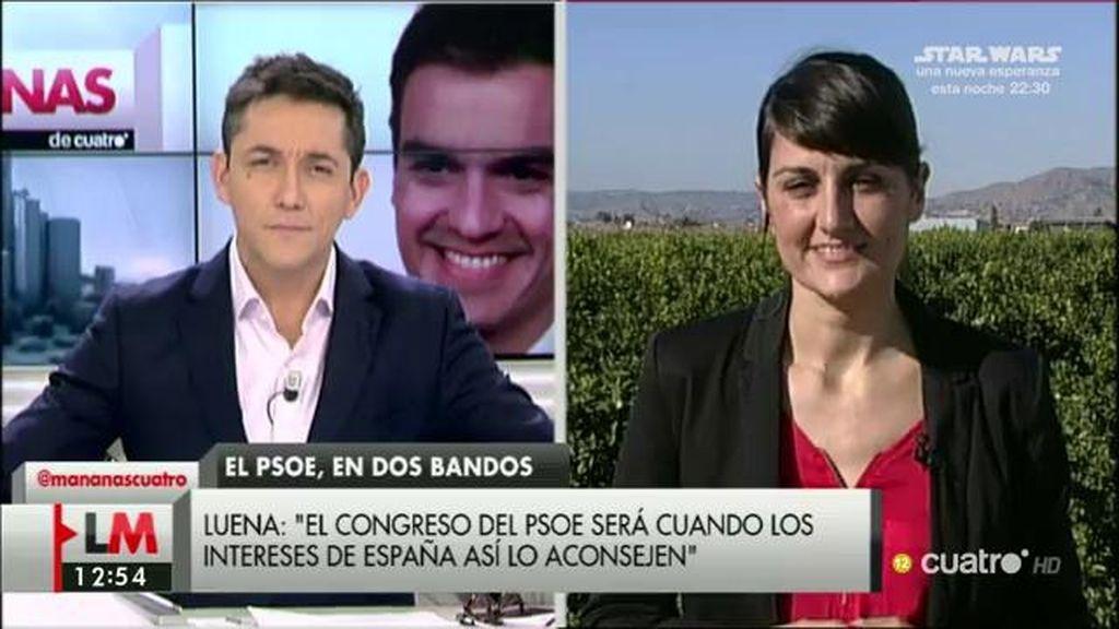 """María González Veracruz, sobre el PSOE: """"Hay un sentir mayoritario que dice que primero el país y luego el partido"""""""