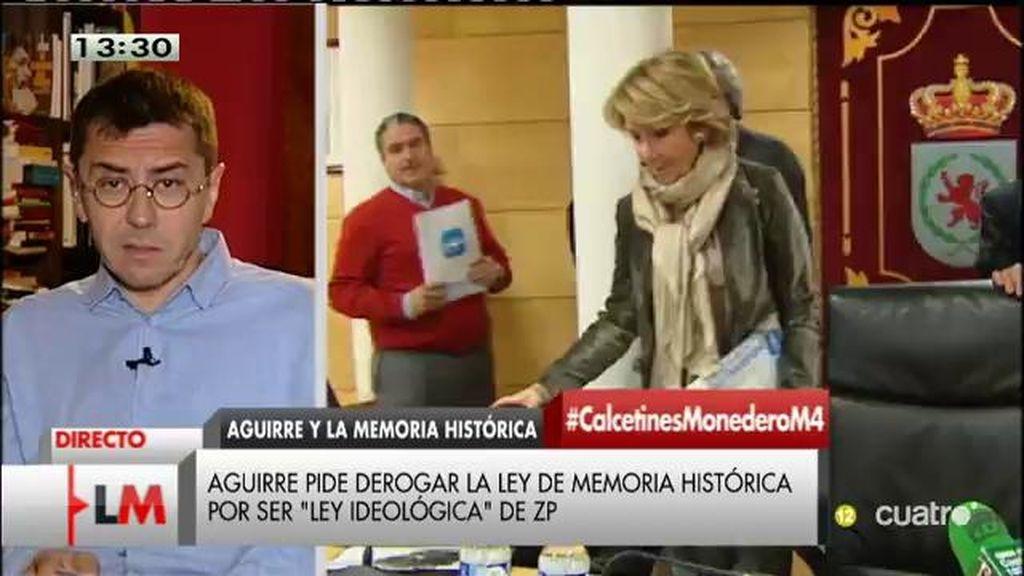 """Monedero: """"Esperanza Aguirre ya es la caricatura de Esperanza Aguirre"""""""