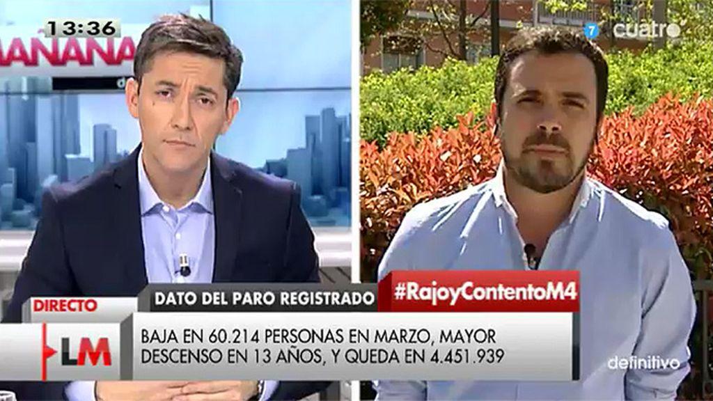 """Alberto Garzón: """"Hay crecimiento neto del empleo, pero se está desguazando"""""""