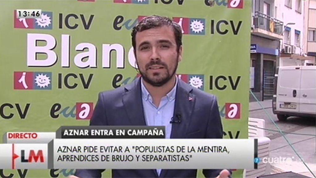 """Alberto Garzón: """"Cifuentes, Aguirre y Rajoy intentan parecer pueblo cuando no lo son"""""""