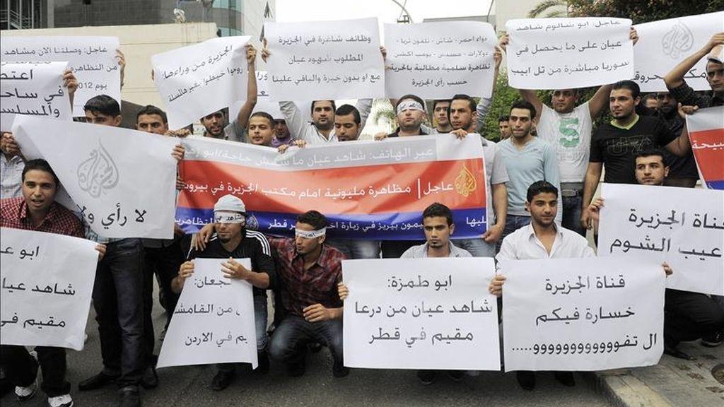 Estudiantes sirios que viven en Líbano participan en una protesta. EFE/Archivo