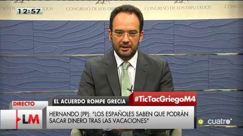 """A. Hernando: """"El PP ha jugado con el miedo respecto a lo que estaba pasando en Grecia"""""""