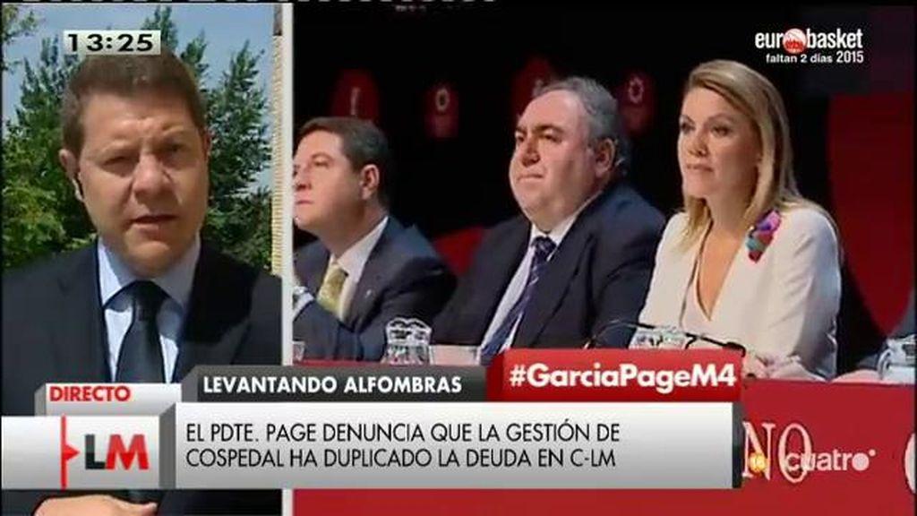 """García – Page: """"Cospedal ha doblado la deuda de la comunidad en tres años y medio"""""""