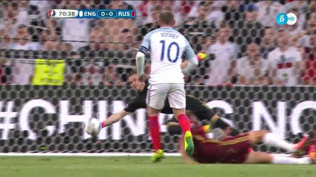 Paradón de Akinfeev para evitar el primero de Inglaterra: Rooney tuvo la ocasión más clara