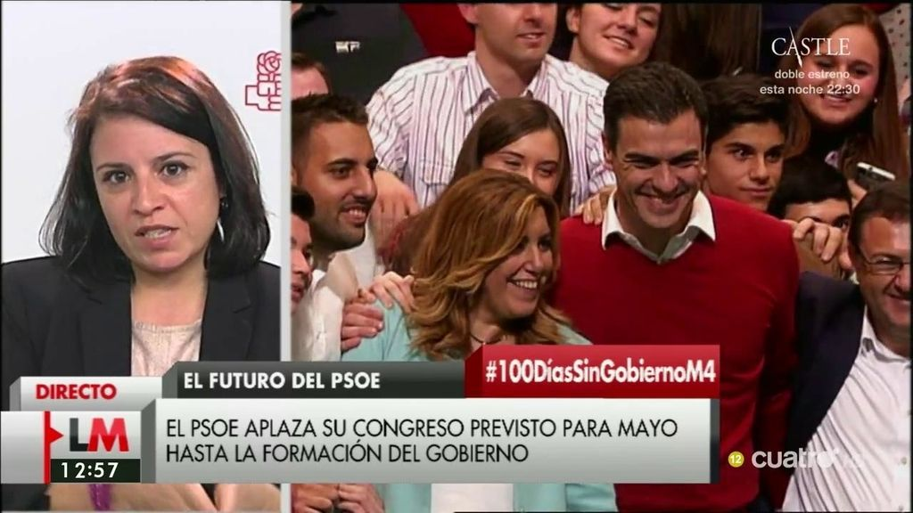 """Adriana Lastra: """"Estamos retrasando nuestro congreso para que no entorpezca la agenda institucional"""""""
