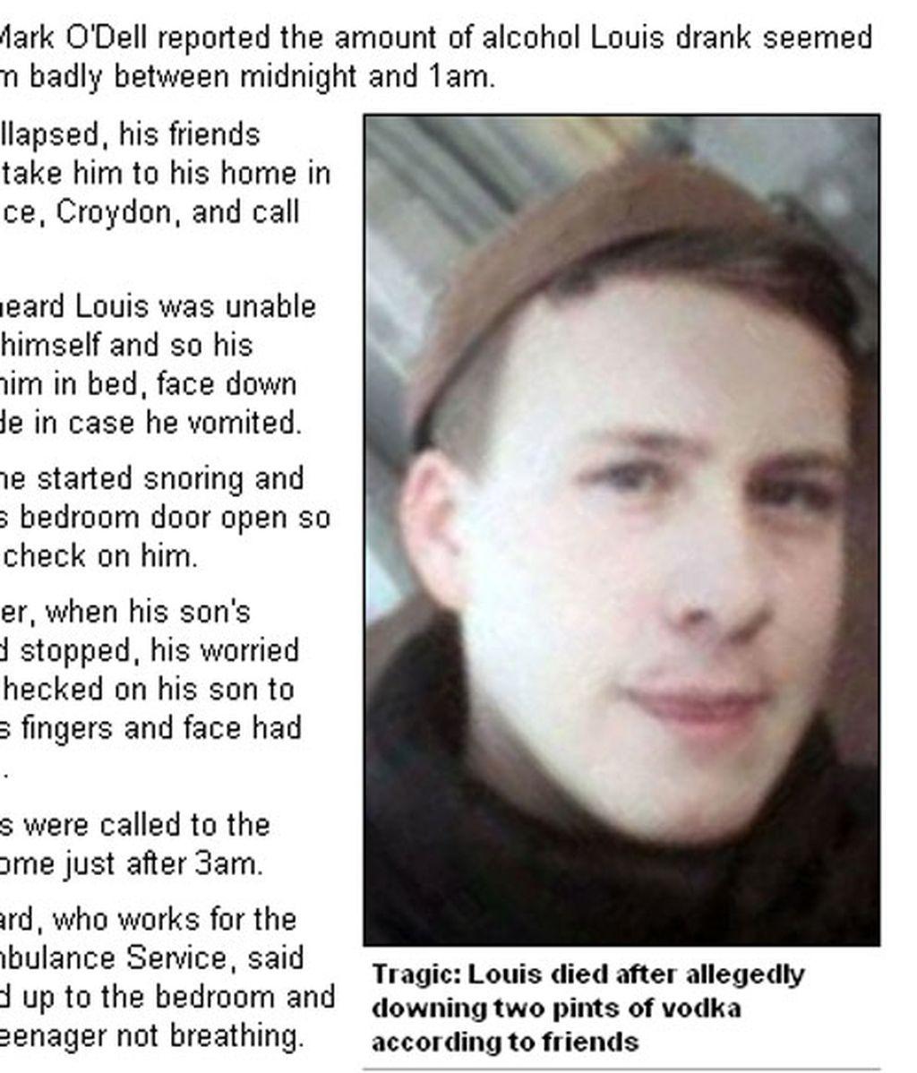 Louis ha fallecido con 17 años de edad por un coma etílico