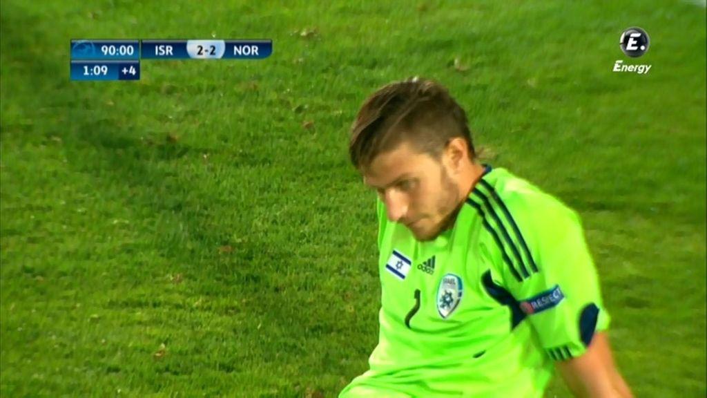 La cara del portero de Israel tras el empate noruego (2-2)
