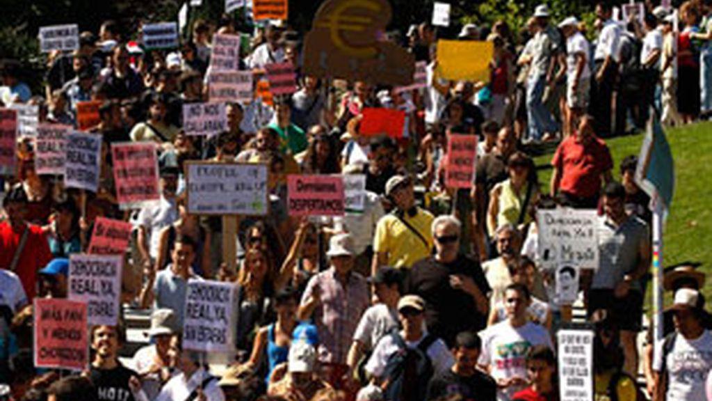 Un grupo de indignados en Madrid