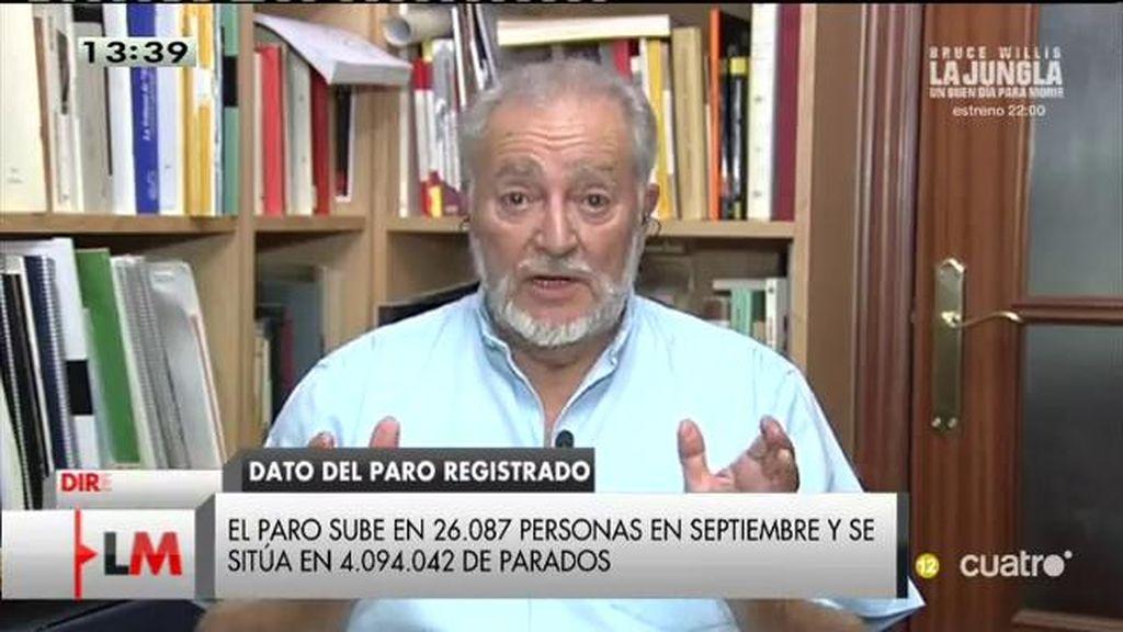 """Julio Anguita, sobre el paro: """"No hay ninguna solución dentro de la actual economía"""""""