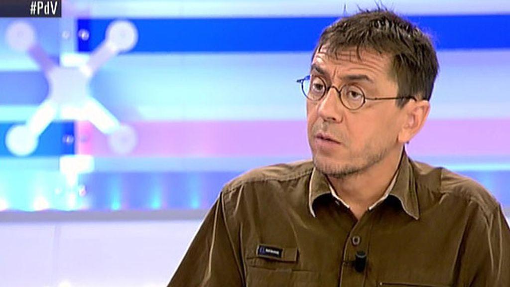 """J. C. Monedero, sobre la ley electoral: """"Nos preocupan las maneras de trilero del PP"""""""