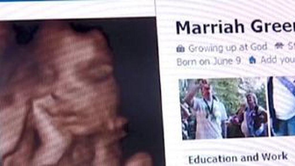 La imagen de la ecografía con la que se identificaba Marriah Greene en el perfil creado por una pareja de estadounidenses.