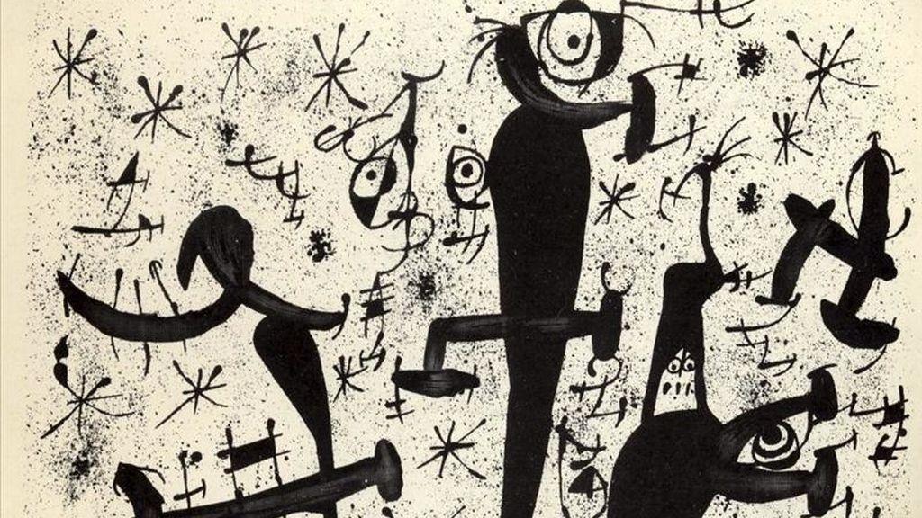 """Fotografía facilitada por la Galería Joan Gaspar de una litografía de la serie en blanco y negro """"Homenatge a Joan Prats"""" que forma parte de la exposición """"Joan Miró. Obra Grabada"""" que permanecerá abierta desde hasta el próximo 31 de mayo en la Galería, en Madrid. EFE"""
