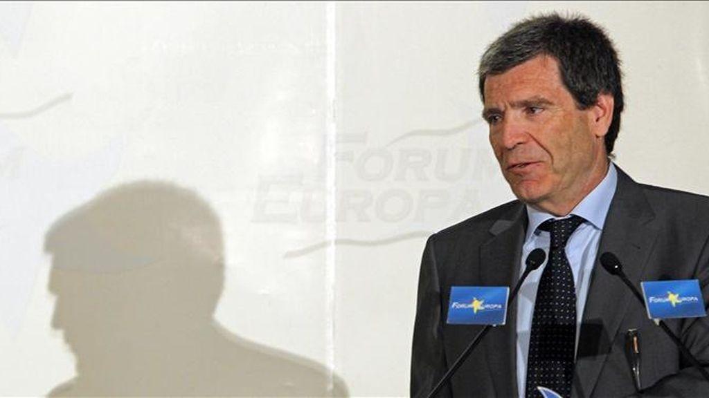 El presidente de Loterías y Apuestas del Estado, Aurelio Martínez, durante su intervención en el desayuno de Fórum Europa que se ha celebrado hoy en Madrid. EFE