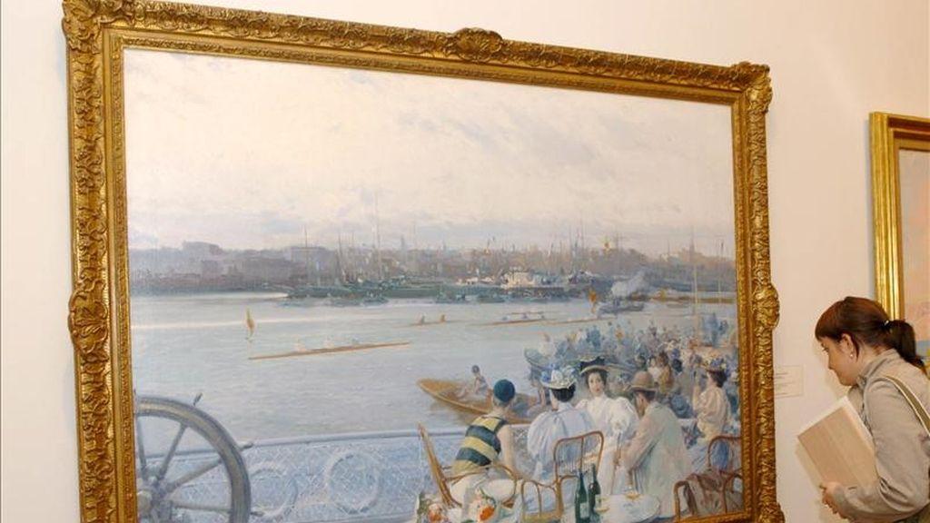 """Imagen del cuadro """"Regatas en el puerto de Barcelona"""", obra de Eliseo Meifrén Roig. EFE/Archivo"""