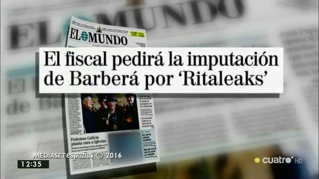 El fiscal pedirá al Supremo la imputación de Barberá por 'Ritaleaks', según 'El Mundo'