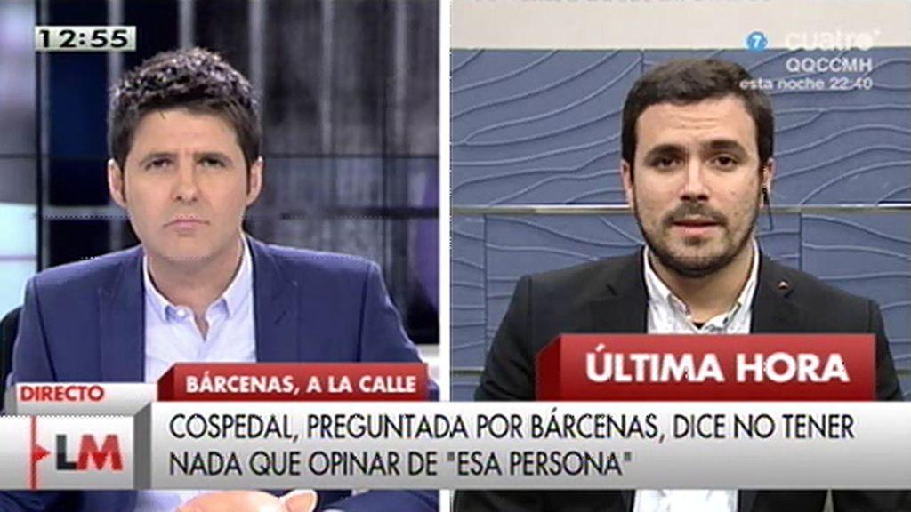 """A. Garzón, de Bárcenas: """"Se le está poniendo un puente de plata para que no hable"""""""