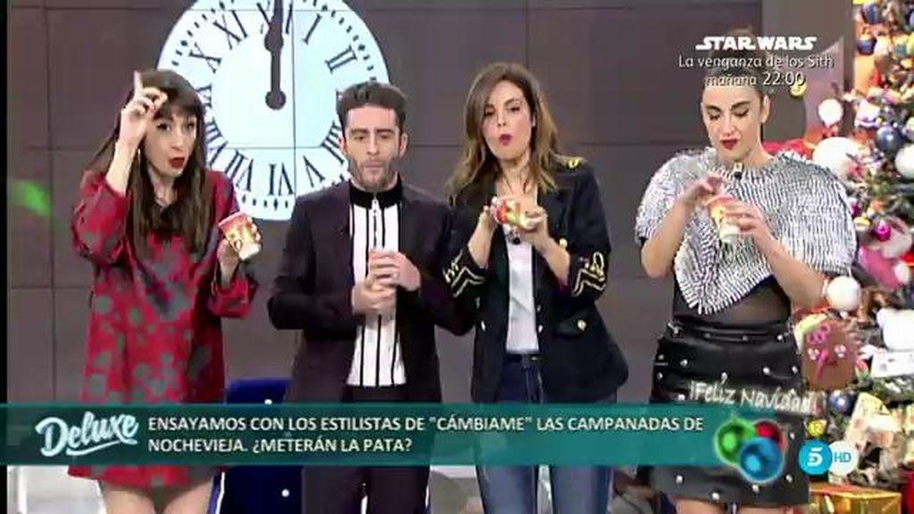 Pelayo, Cristina, Natalia y Marta ensayan las Campanadas 2015 en el 'Deluxe'