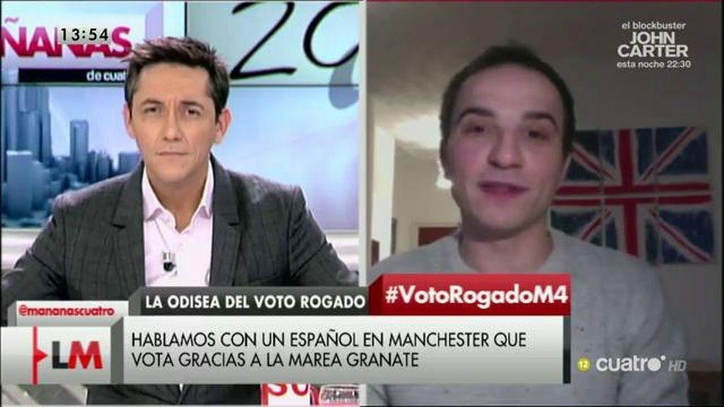 Pedro, un español que trabaja en Manchester explica que votará a través de la 'Marea Granate'