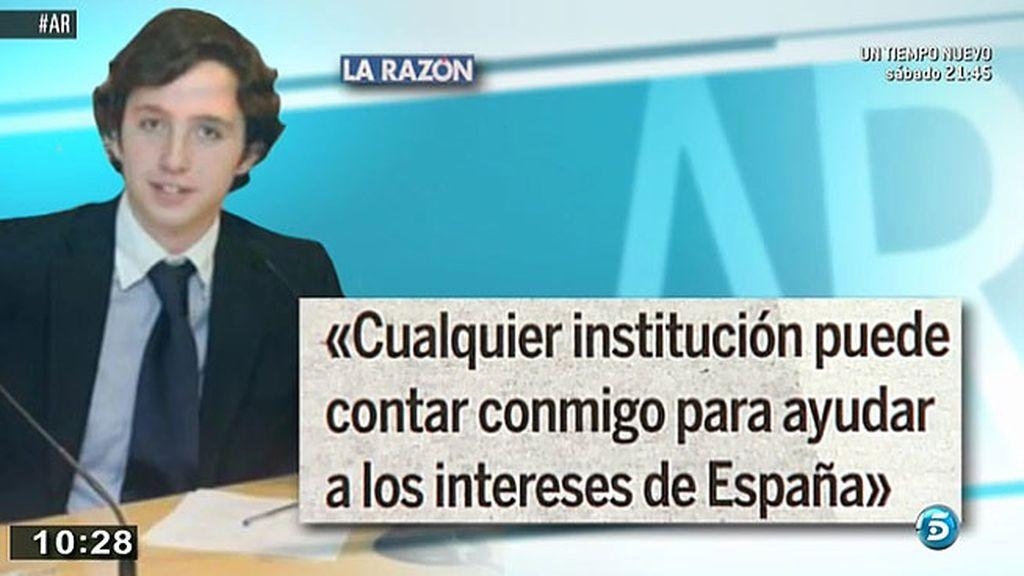 """El 'Pequeño Nicolás': """"Cualquier institución puede contar conmigo para ayudar a los intereses de España"""""""