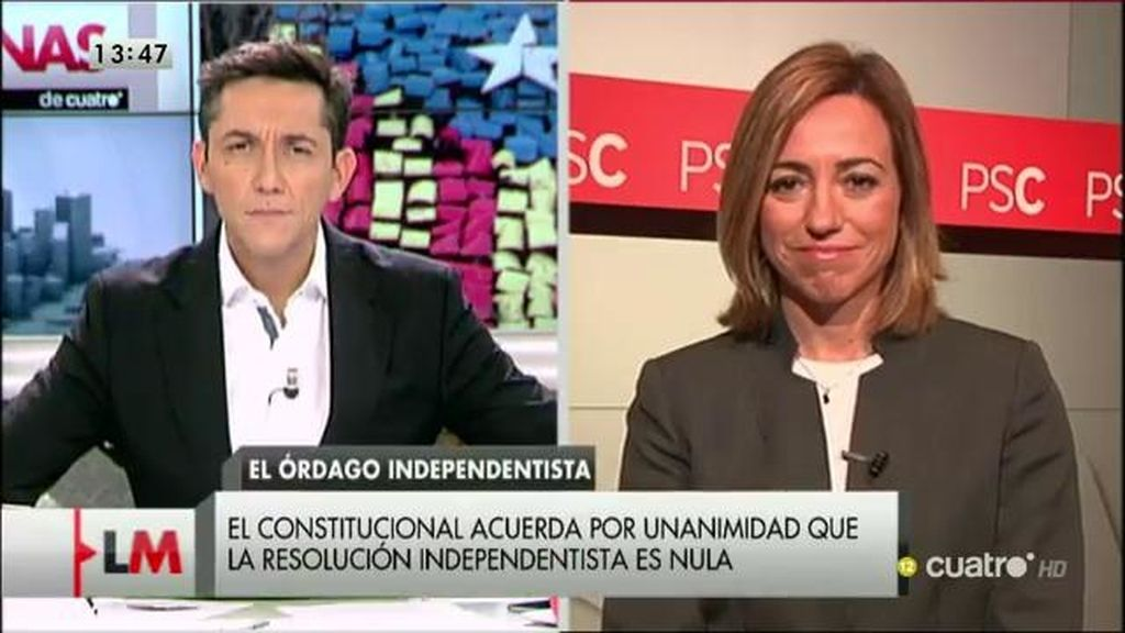 """Carme Chacón: """"Artur Mas y su Gobierno pueden hacer lo único lógico, devolver a Cataluña a la senda de la ley"""""""