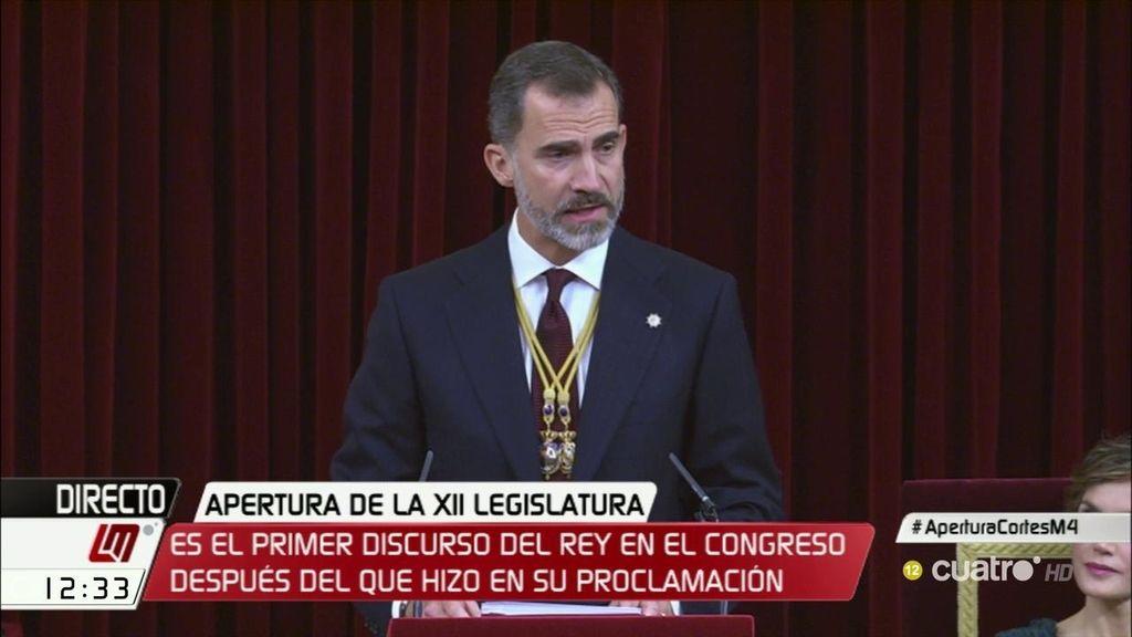El discurso completo de Felipe VI en la apertura de la XII legislatura