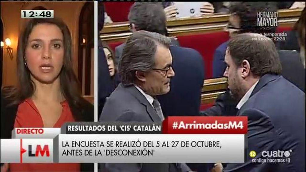 """Inés Arrimadas, sobre el desafío de Mas: """"Hay un interés de escapar de la justicia"""""""