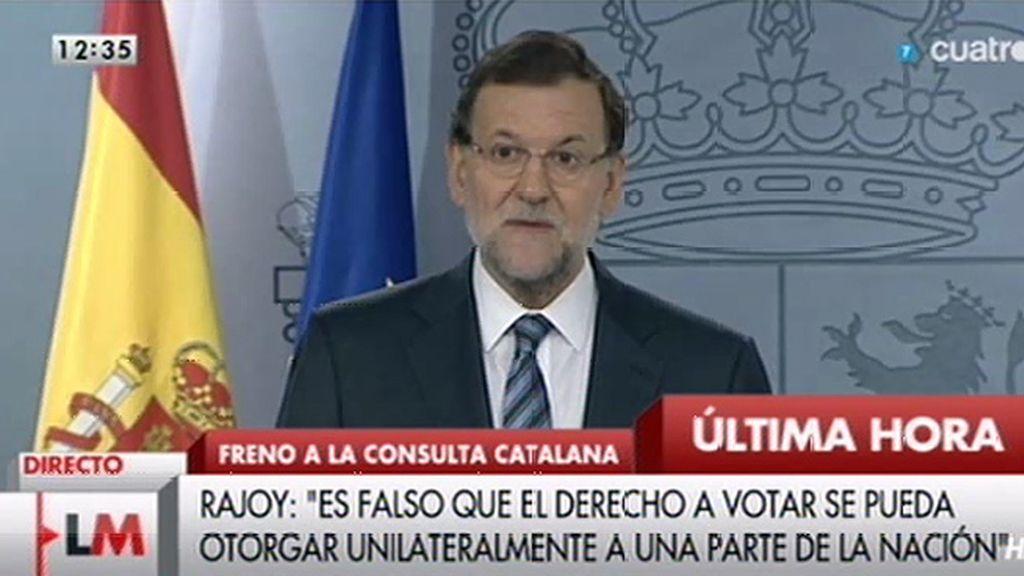 """Mariano Rajoy: """"La consulta, ni por su objeto, ni por su procedimiento, es compatible con la Constitución"""""""