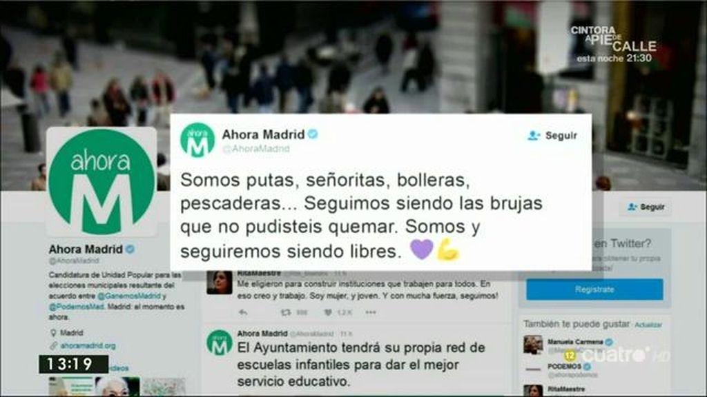 """Ahora Madrid, en Twitter: """"Seguimos siendo las brujas que no pudisteis quemar. Somos y seguiremos siendo libres"""""""