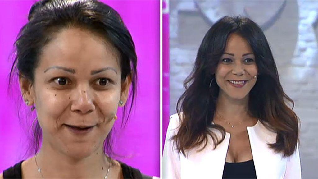 El cambio instantneo de Glory corte de pelo tacones y maquillaje