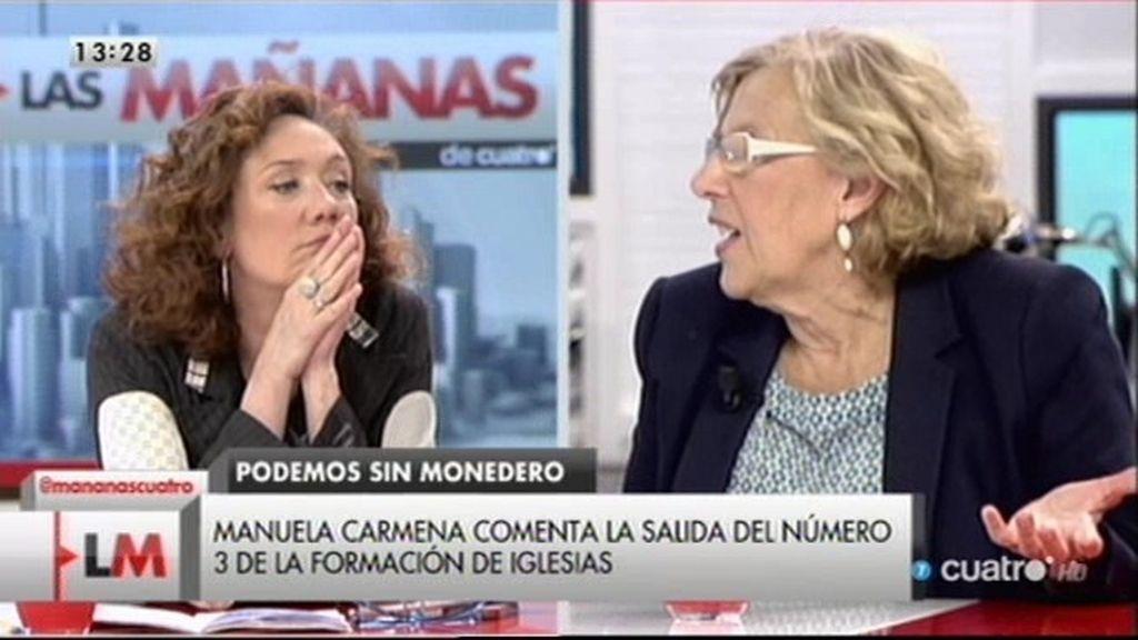 """Manuela Carmena: """"No sé la incidencia que puede tener la salida de Monedero"""""""