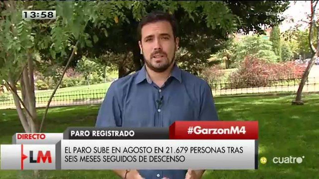 """Alberto Garzón: """"La tendencia es que se está desguazando el empleo en nuestro país"""""""