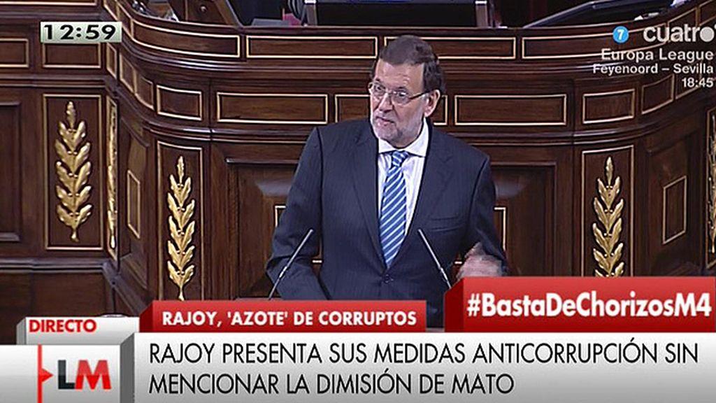 """Rajoy: """"No hemos iniciado esta mañana la lucha para regenerar la democracia"""""""