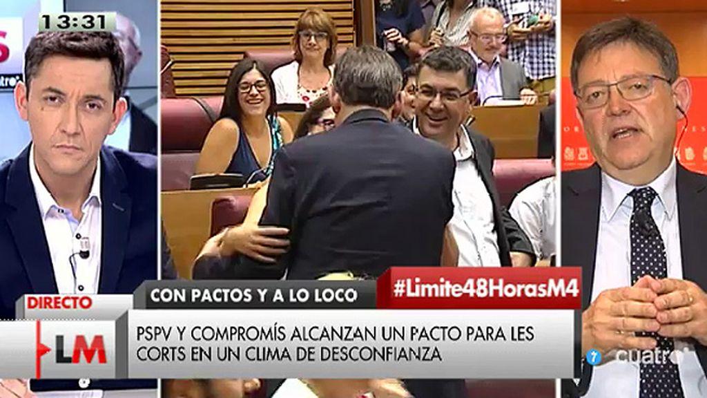 """Ximo Puig, sobre los pactos en Valencia: """"Hay diferencias pero tenemos que superarlas y hay buena voluntad"""""""