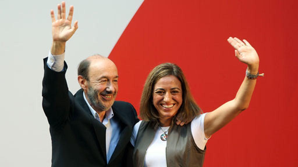 Rubalcaba y Chacón durante el acto del PSC. Foto: Efe
