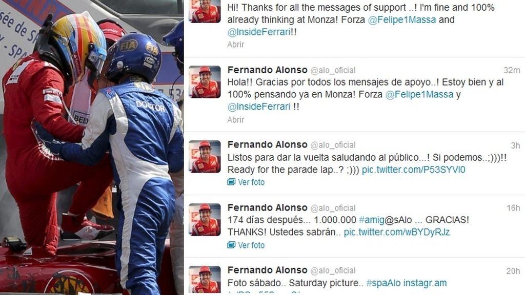 Fernando Alonso tras el accidente (Twitter)