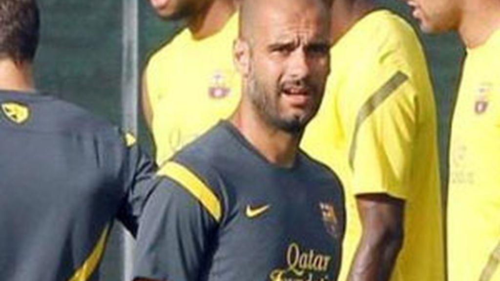 Guardiola durante un entrenamiento de la pretemporada. Foto: EFE