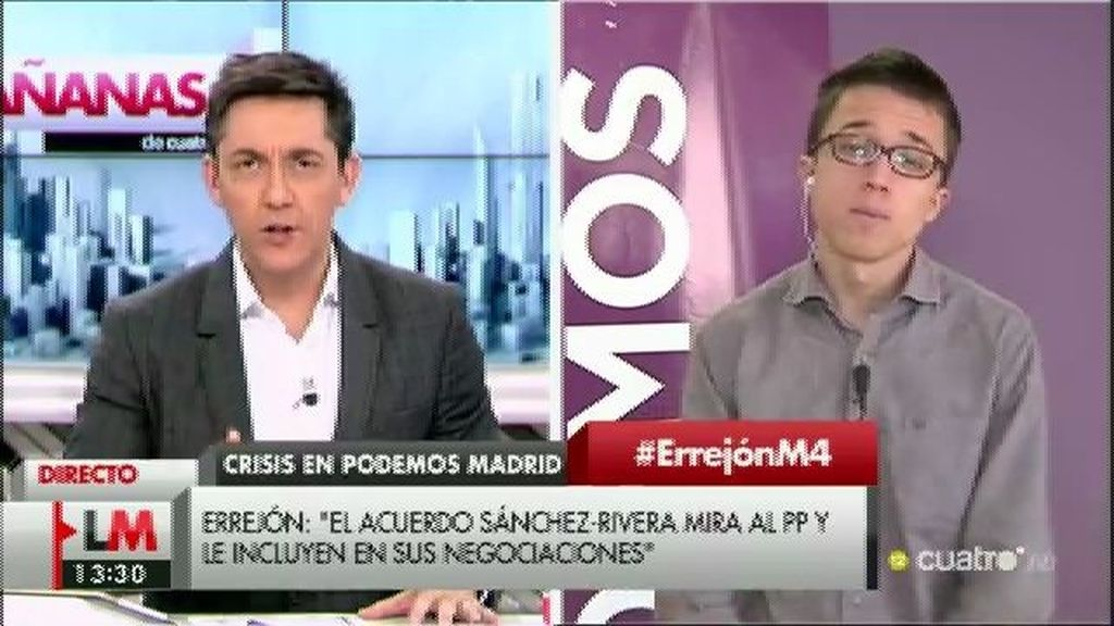 """Errejón: """"Pablo y yo tenemos claro que tiene que haber gobierno con el PSOE"""""""