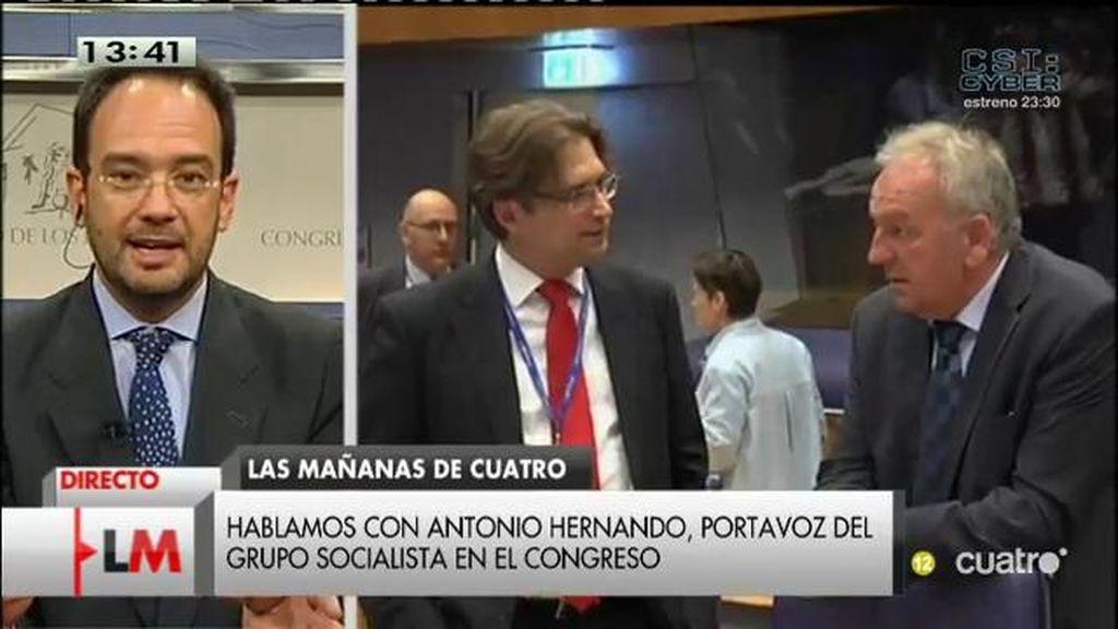 """Antonio Hernando: """"El Gobierno nos ha engañado y ha intentado engañar a Bruselas"""""""