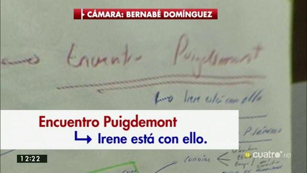 """Las notas de Iglesias: """"Encuento Puigdemont. Irene está con ello"""""""