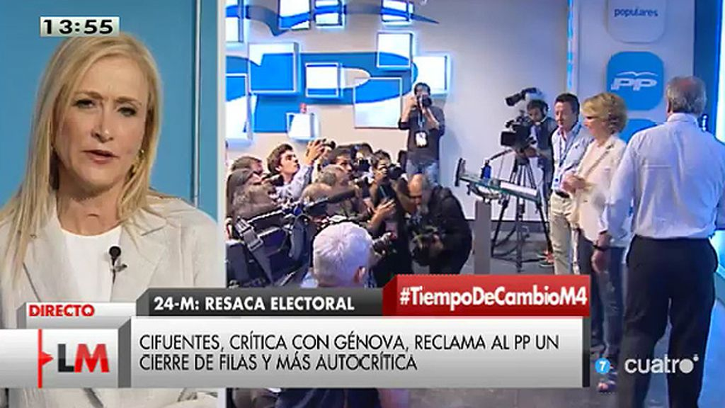 "Cristina Cifuentes no se plantea ""ni por asomo"" suceder a Esperanza Aguirre"