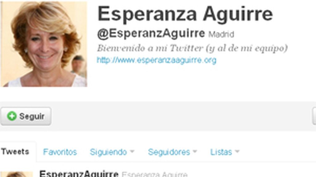 Su página de twitter quedaba así después de que la presidenta publicase el twitter