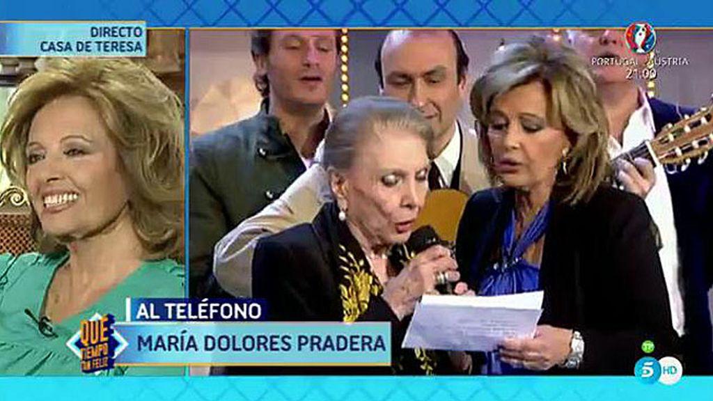 María Dolores Pradera entra por teléfono para sorprender a su amiga del alma